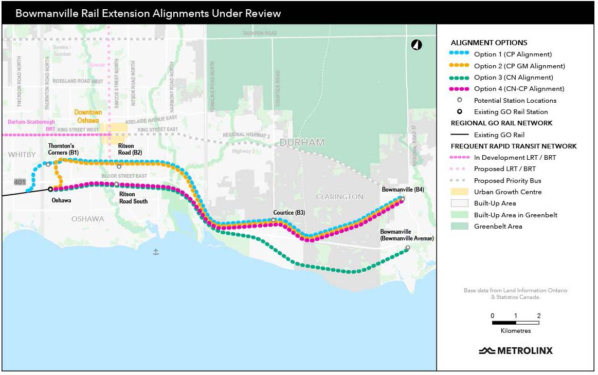 Metrolinx Options for Lakeshore East Extension to Bowmanville