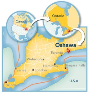 Map showing Oshawa's proximity to major markets.