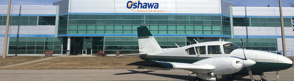 Oshawa Executive Airport with a plane.
