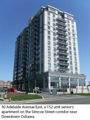 30 Adelaide Avenue East, a 152 unit senior's  apartment on the Simcoe Street corridor near  Downtown Oshawa.