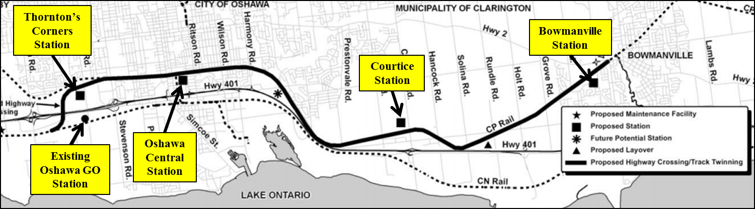 Map showing the locations for the GO Train east extension.