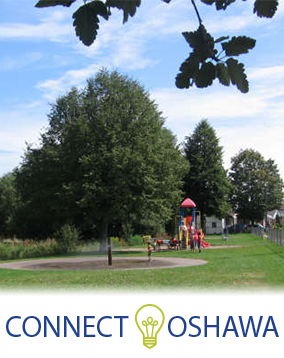 Photo of Glen Stewart Park showing water feature and playgound with Connect Oshawa logo on the bottom.