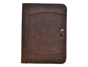 Leather portfolio (brown zippered)