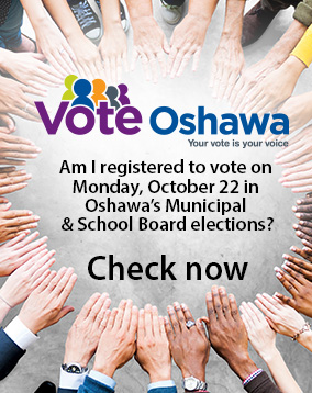 Vote Oshawa logo - Are you registered to vote