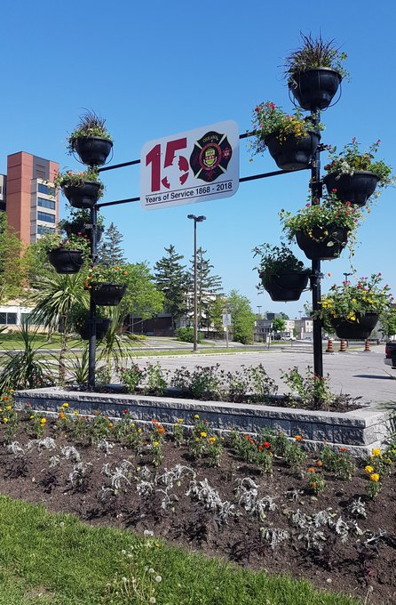 Oshawa Fire Services 150th themed City Hall garden