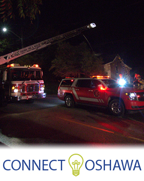 Photo of Oshawa Fire Services at an active scene and the Connect Oshawa logo