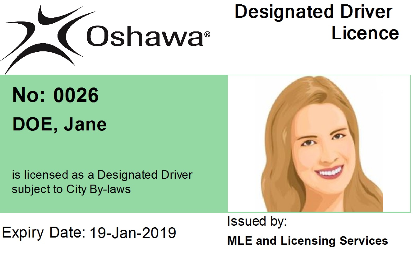 Example of D.D. Driver Licence