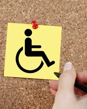 wheelchair on post it note