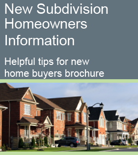 New Subdivision Homeowners Information Helpful tips for new  home buyers brochure cover