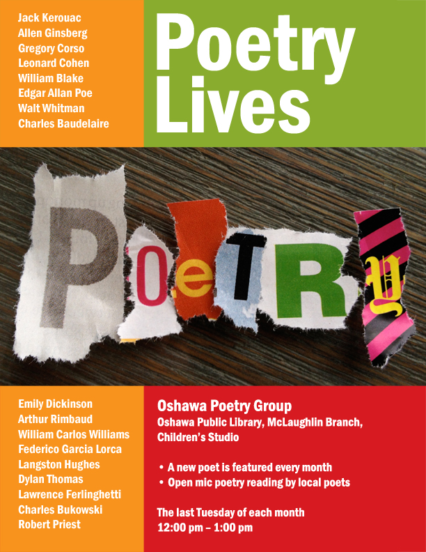 Poster information for Oshawa Poetry Group