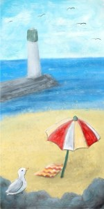 Painting of Lakeview Park beach with seagull, towel and open umbrella on sand