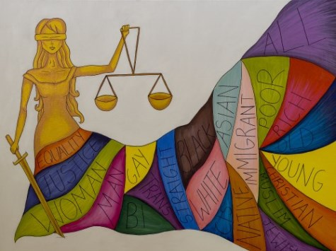 Blindfolded female figure holding scales and wearing a skirt listing elements of diversity, inclusion and equality.