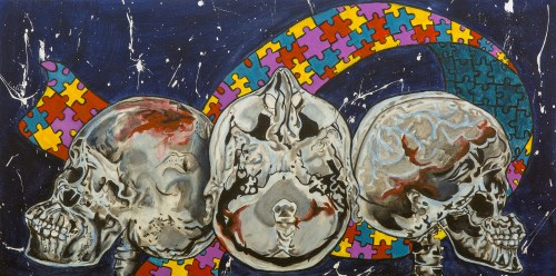 Three skulls in front of multi-coloured ribbon of jigsaw pieces.