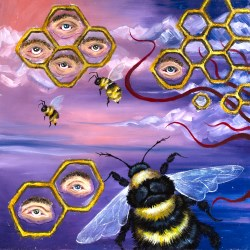 Honeycomb shapes with eyes surrounded by tendrils and bees.