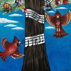 Red birds flying around tree wrapped with music notes