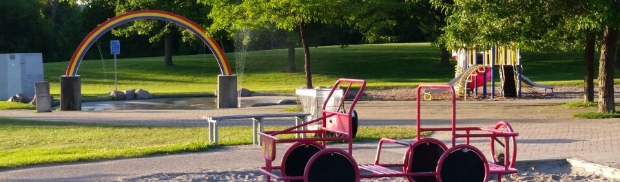 Easton Park Splashpad and playground equipment